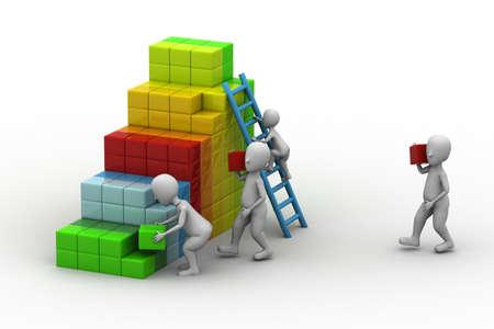 zakenman bouwt zijn bedrijfsstrategie blokken toe te voegen Stockfoto