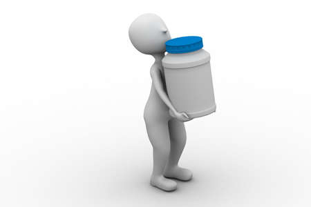 storage box: man carry bottle for tablets  Stock Photo