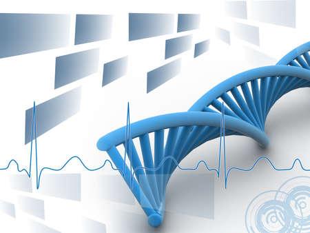 genetica: DNA 3d a sfondo digitale Archivio Fotografico