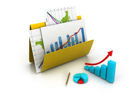 Business graph and chart in folder    photo