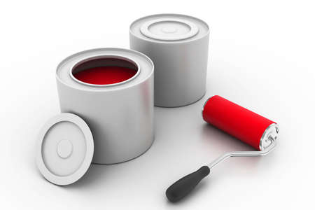 paint tin: paint roller and can  Stock Photo