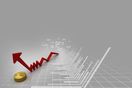 population growth: Rising graph with dollar  Stock Photo