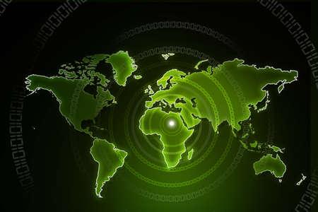 digital world map: earth with digital fibers