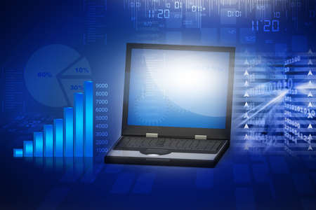 laptop with business growth bar graph Stock Photo - 15403398