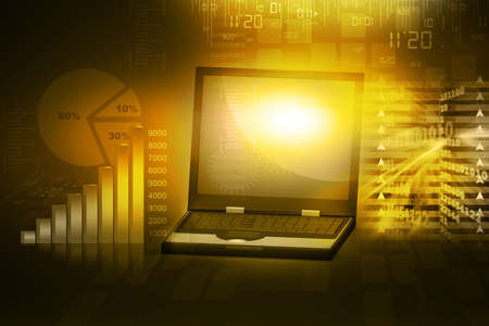 laptop with business growth bar graph Stock Photo - 15403392