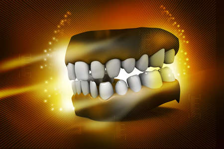 dental symbol: Teeth in abstract background Stock Photo