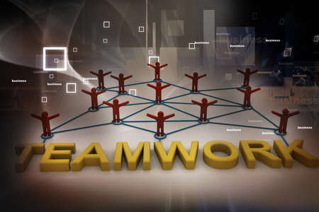 depend: Teamwork concept on abstract background