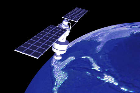 satellite  at the Earth orbit  photo