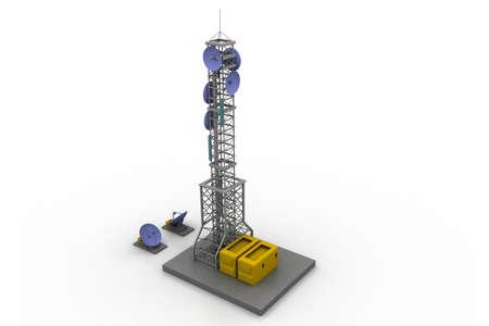 telecomm: Comunicaci�n torre con antenas parab�licas y antenas