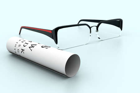 bifocals: Reading glasses with eye chart   Stock Photo