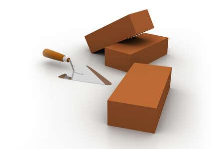 brick work: Tool for laying and bricks