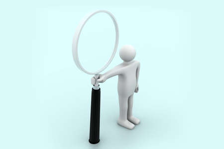 3d person with a big magnifying glass  photo