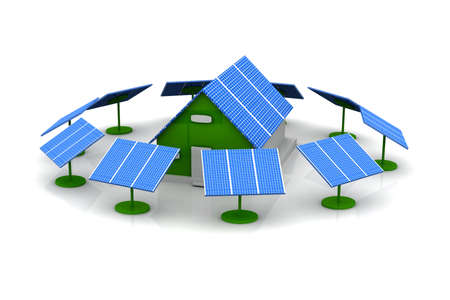 solar panel roof: House with solar cells  Stock Photo