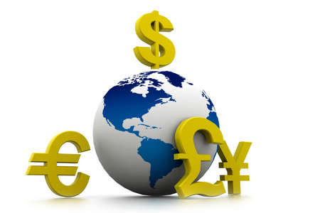 financial world: Currency symbols around earth  Stock Photo