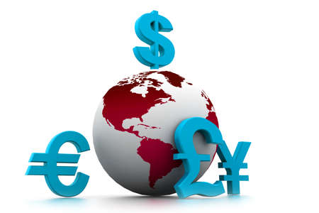 exchange rate: Currency symbols around earth  Stock Photo