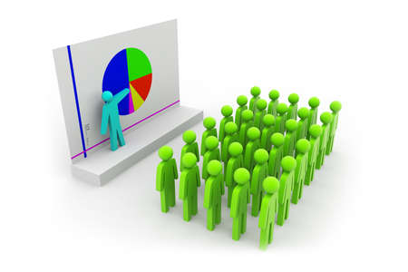 Business people team with pie chart Stock Photo - 15593709