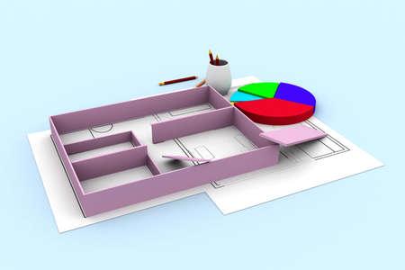 pencils  clutter: blueprints and pie chart