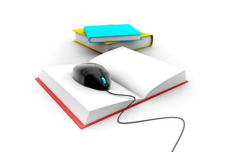 internet school: 3d Computer mouse and books - e-learning concep