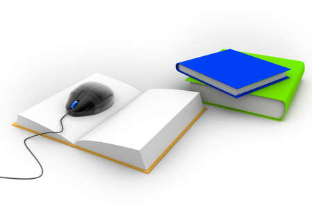 3d Computer mouse and books - e-learning concep   photo