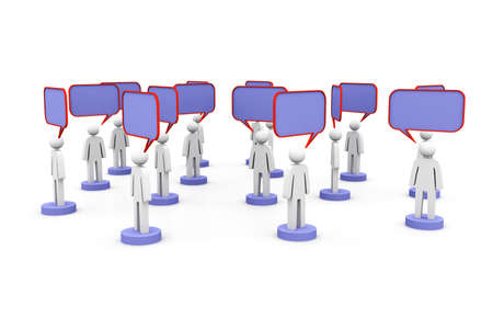 3d people and blank bubbles  Talking Stock Photo - 15593613