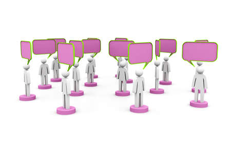 3d people and blank bubbles  Talking Stock Photo - 15593614