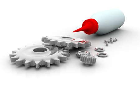 lubricate: Gears wheels  oiling the gears