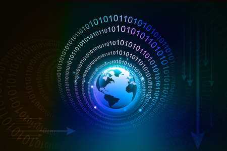 light source: earth and digital , binary code
