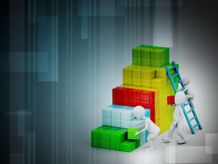 adding: businessman builds his business strategy adding blocks Stock Photo