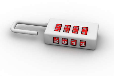 pad lock: combination padlock- new year concept
