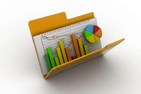 3d Business grafiek en grafiek in de map Stockfoto