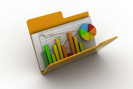 3d Business graph and chart in folder photo