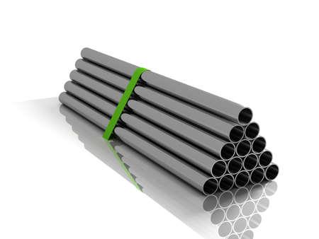 caños de agua: Lote de tubos de acero plegadas