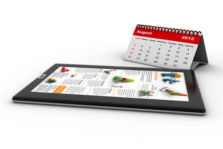 Black tablet pc on white background, 3d render  With calendar photo