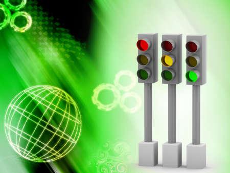 semaphore: Digital illustration of Traffic light