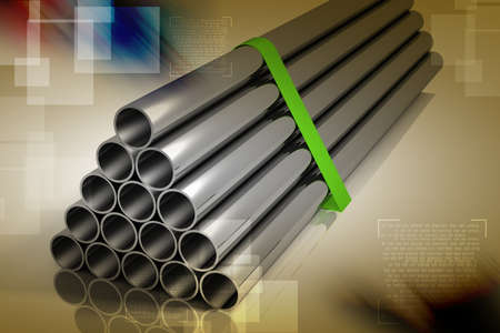 Lot of folded steel pipes photo