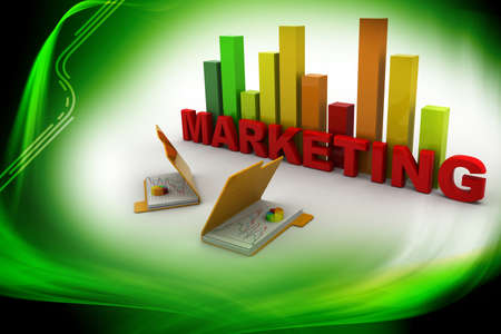3d Marketing graph and folder Stock Photo - 15798653