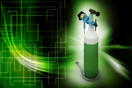 compressed air hose: Small portable oxygen cylinder Stock Photo