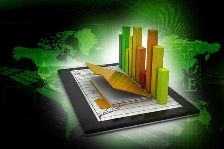 document management: Tabletten met een grafiek Stockfoto