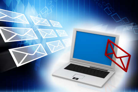 electronic mail: laptop and mail Stock Photo