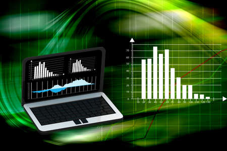 laptop with business or profits growth bar graph Stock Photo - 15798767