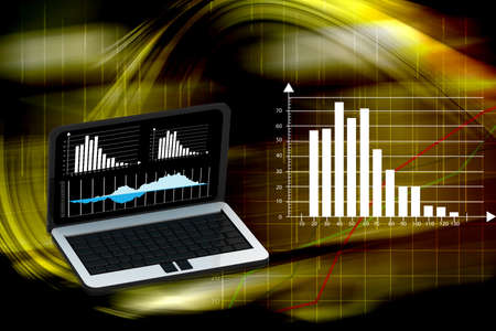 laptop with business or profits growth bar graph Stock Photo - 15798861