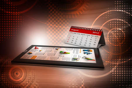 Black tablet pc on attractive background With calendar photo