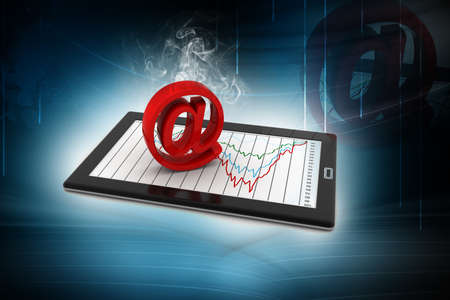 telecommunication: tablets with email symbol Stock Photo