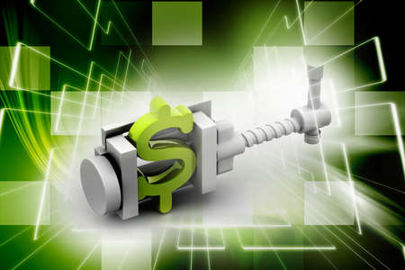 vice: dollar symbol being squeezed in a vice Stock Photo