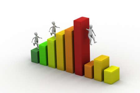 speed test: businessman run up on graph