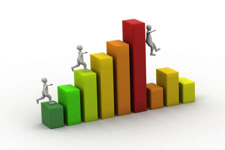 businessman run up on graph Stock Photo - 16561414