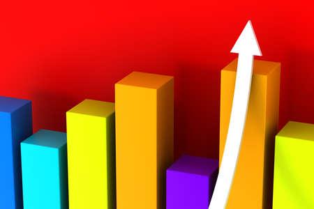 3d graph with growth arrow photo