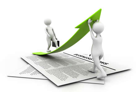 business graph with people in business news chart Stock Photo - 16946349