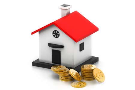 investment real state: dinero de la casa caja con monedas de un dólar