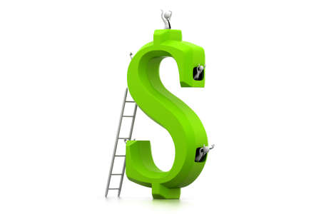 millionaire: Business people in dollar symbol Stock Photo
